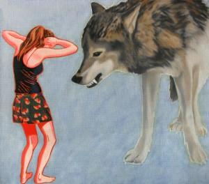 Biały wilk III, 35x40, olej na płótnie, 2011-